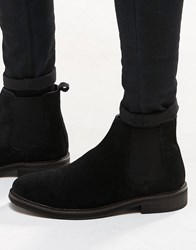 Asos Chelsea Boots In Black Suede With Chunky Sole Black