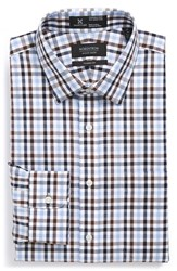 Men's Big And Tall Nordstrom Smartcare Wrinkle Free Classic Fit Check Dress Shirt Brown Seal