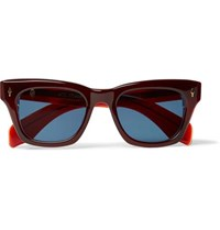 Jacques Marie Mage Dealan Square Frame Acetate Sunglasses Red