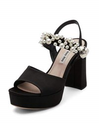 Miu Miu Beaded Suede Block Heel Sandal Black