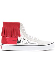 Vans Snoopy Print Fringed Hi Tops Unisex Cotton Leather Suede Rubber 7.5 White