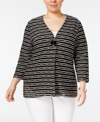 Jm Collection Plus Size Striped Textured Blazer Only At Macy's Deep Black