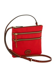 Dooney And Bourke North South Triple Zip Crossbody Red