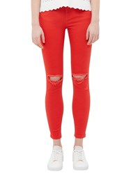 Ted Baker Swansa Skinny Abrasion Jeans Mid Red