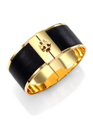 Tory Burch Skinny Leather Inlay Cuff Bracelet Camel Black
