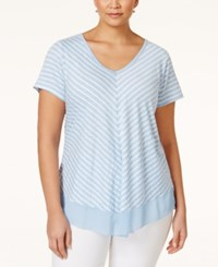 Styleandco. Style And Co. Plus Size Striped V Neck Top Only At Macy's Chevron Street Blue