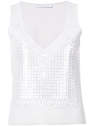 Sally Lapointe Geometric Embellished Tank Top Women Polyamide Viscose Plastic Metal 4 White
