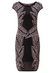Marc Cain Knitted Palm Dress Black Candy Pink