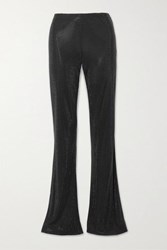 Versace Swarovski Crystal Embellished Stretch Crepe Flared Pants Black
