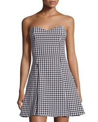 Lucca Couture Gingham Fitted Strapless Dress Black White