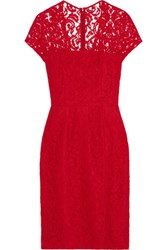 Carven Guipure Lace Dress Red
