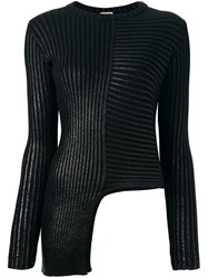 Nude Asymmetric Round Neck Pullover Black