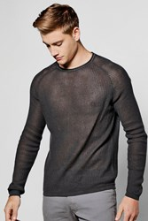 Boohoo Neck Draped Jumper With Open Knit Charcoal