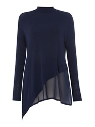 Label Lab Asymmetric Knit And Chiffon Mix Top Navy Marl