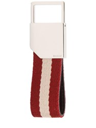 Bally Logo Stripe Canvas Key Chain Multicolor