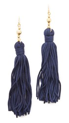 Kenneth Jay Lane Bead And Tassel Earrings Navy