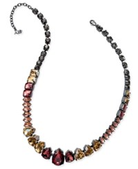 Abs By Allen Schwartz Hematite Tone Multi Crystal Collar Necklace