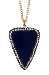 Spring Street Blue Agate Triangle Pendant Necklace