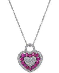 Macy's Ruby 4 5 Ct. T.W. And White Topaz 1 3 Ct. T.W. Heart Shaped Pendant Necklace In Sterling Silver