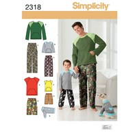 Simplicity Men's Boys' Loungewear And Dog Top Sewing Pattern 2318 A