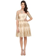 Adrianna Papell Metallic Corded Lace Party Dress Gold Women's Dress