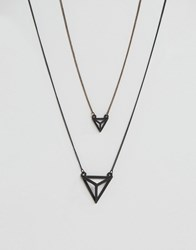 Icon Brand Geometric Matte Black Necklaces In 2 Pack Black