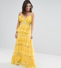 True Decadence Petite Plunge Front Tiered Ruffle Maxi Dress Yellow