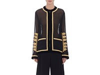 Givenchy Women's Military Embellished Chiffon Overlay Jacket Black