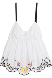 See By Chloe Scalloped Embroidered Cotton Poplin Top White
