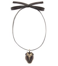 Valentino Leather Necklace With Pendant Black