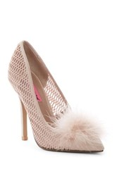 Betsey Johnson Olvia Maribou Lattice Pump Pink