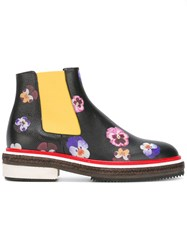 Christopher Kane Pansy Print Ankle Boots Black