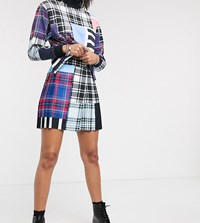 Reclaimed Vintage Inspired Pleated Mini Skirt Co Ord In Cutabout Check Print Multi