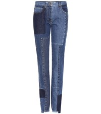 Mcq By Alexander Mcqueen High Rise Cropped Jeans Blue