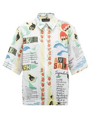 Martine Rose Ackee And Saltfish Print Linen Shirt White Multi