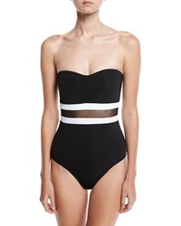 Jets By Jessika Allen Classique Contrast Bandeau One Piece Swimsuit Black White
