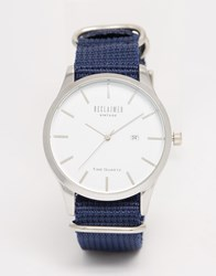 Reclaimed Vintage Logo Military Watch In Navy Canvas Navy Blue