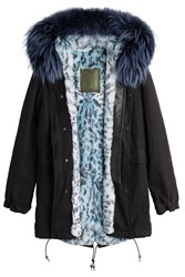 Mr And Mrs Italy Cotton Parka With Fur Leather Trim Black