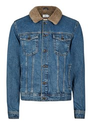 Topman Mid Wash Blue Faux Shearling Collar Denim Jacket
