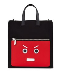 Fendi Faces Leather Tote Bag Black Flame Red Black Red