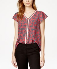 Maison Jules Crochet Trim Printed Flutter Sleeve Top Only At Macy's