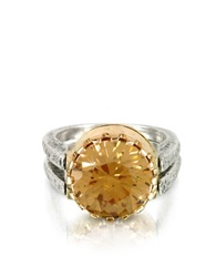 Try Gold Champagne Cubic Zirconia Sterling Silver And Rose Gold Ring