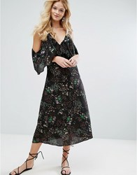 Walter Baker Eleanor Dress In Desert Bloom Desert Bloom Black
