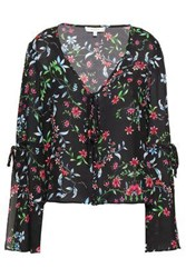 Milly Woman Maggie Floral Print Silk Crepe Blouse Black