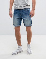 Solid Denim Shorts In Mid Blue Wash Light Wash