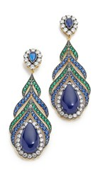 Jarin K Feather Earrings Blue Multi