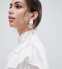 Accessorize Gold Layered Crescent Statement Earrings