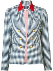 Veronica Beard Cottage Gingham Jacket Women Cotton Spandex Elastane 2 Blue
