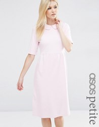 Asos Petite Peter Pan Collar Smock Structured Dress Sugar Pink
