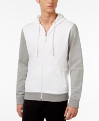 Bar Iii Men's Zip Cotton Pajama Hoodie Only At Macy's White